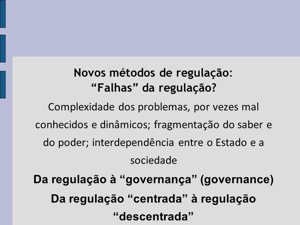 Novos métodos de regulação: Falhas da regulação.