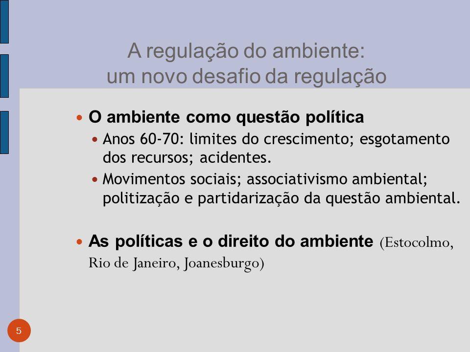 5 A regulação do ambiente: um novo desafio da regulação O ambiente como questão política Anos 60-70: limites do crescimento; esgotamento dos recursos; acidentes.