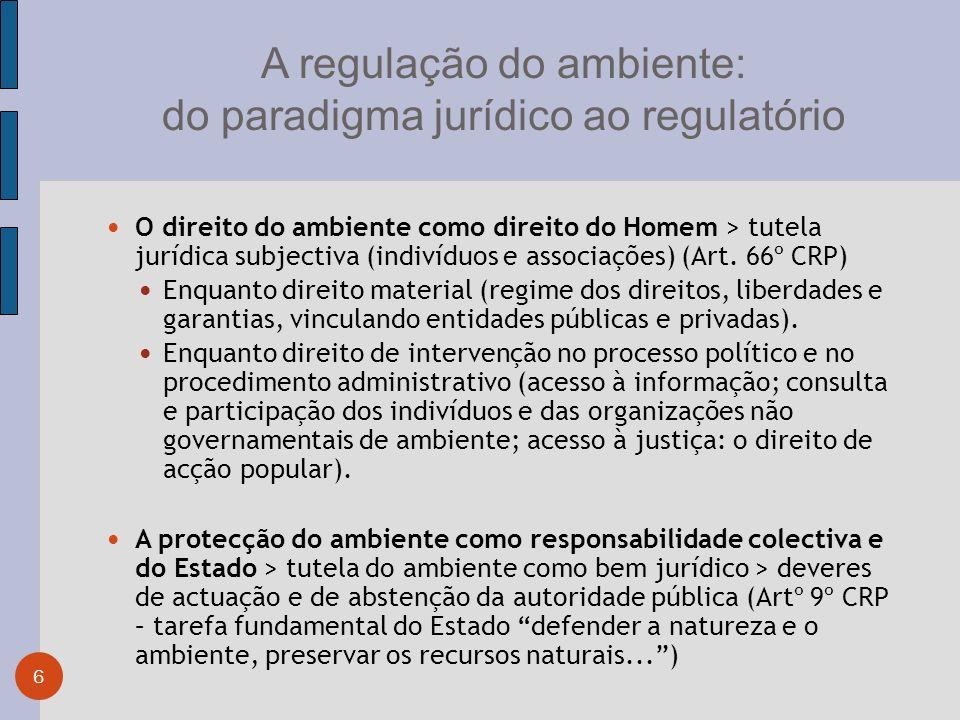 A regulação do ambiente: do paradigma jurídico ao regulatório 6 O direito do ambiente como direito do Homem > tutela jurídica subjectiva (indivíduos e associações) (Art.