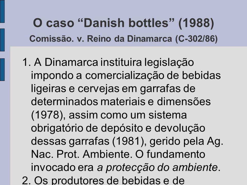 O caso Danish bottles (1988) Comissão. v. Reino da Dinamarca (C-302/86) 1.