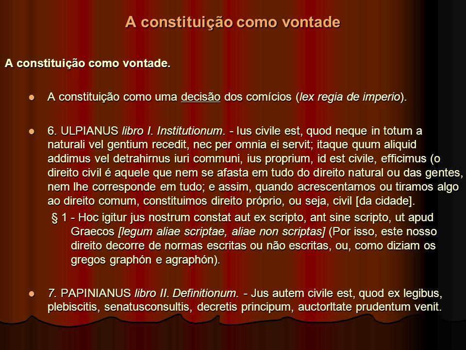 A constituição como vontade A constituição como vontade. A constituição como uma decisão dos comícios (lex regia de imperio). A constituição como uma