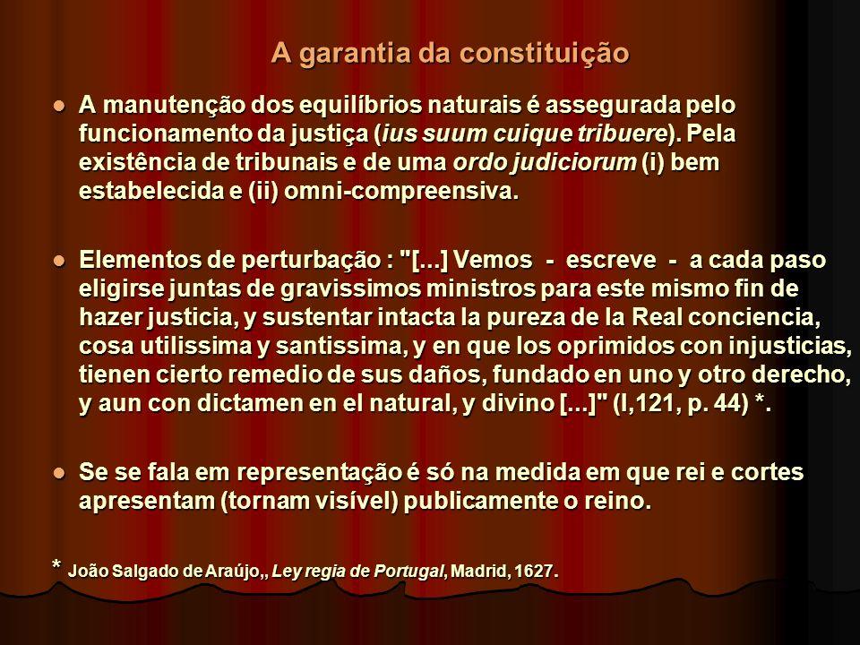 A manutenção dos equilíbrios naturais é assegurada pelo funcionamento da justiça (ius suum cuique tribuere). Pela existência de tribunais e de uma ord