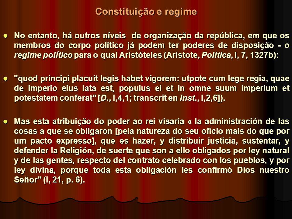 Constituição e regime No entanto, há outros níveis de organização da república, em que os membros do corpo político já podem ter poderes de disposição