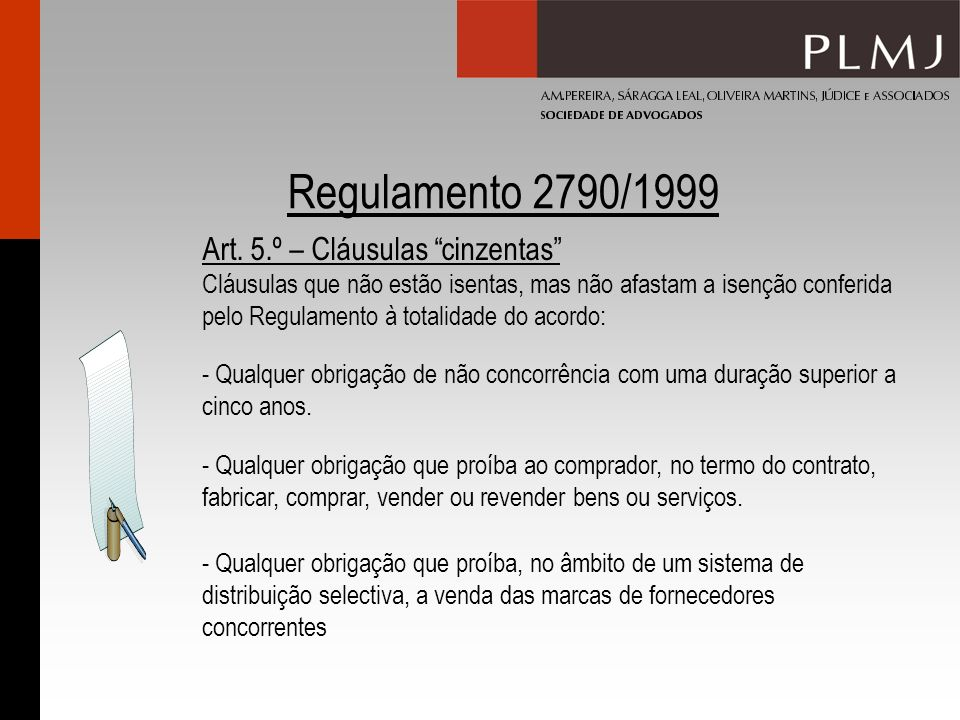Regulamento 2790/1999 Art.