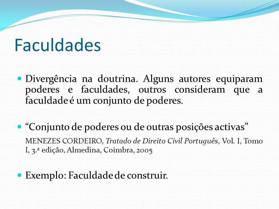 Faculdades Divergência na doutrina.