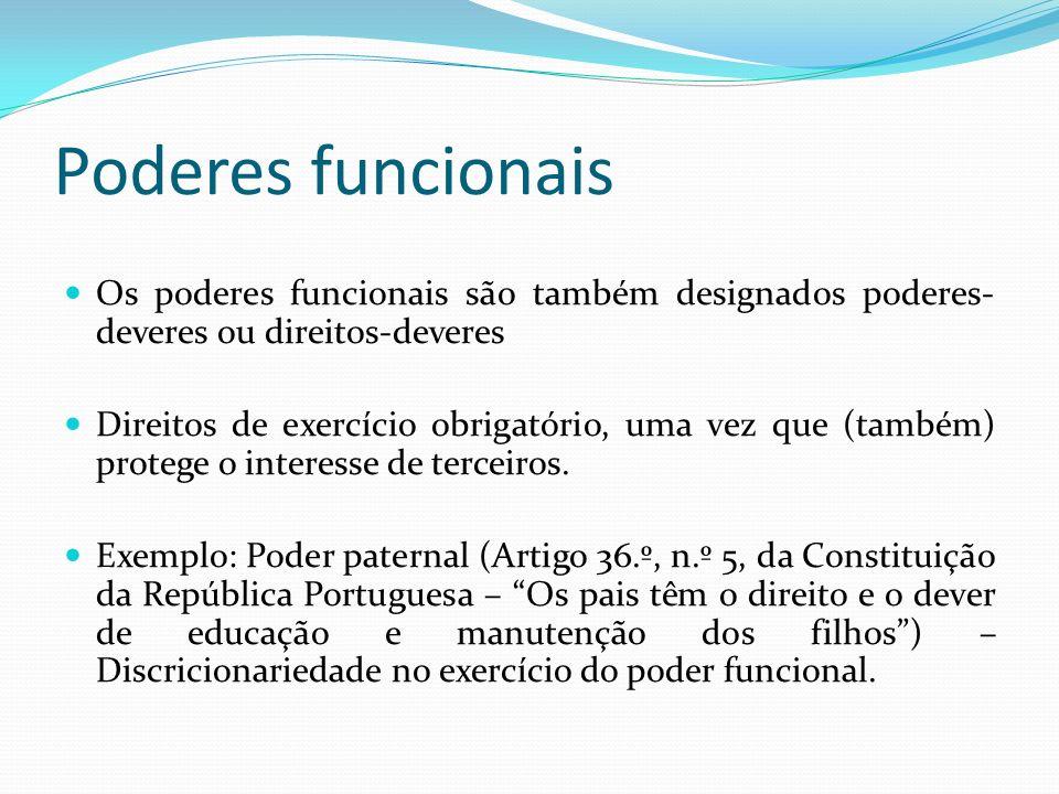 Poderes funcionais Os poderes funcionais são também designados poderes- deveres ou direitos-deveres Direitos de exercício obrigatório, uma vez que (também) protege o interesse de terceiros.