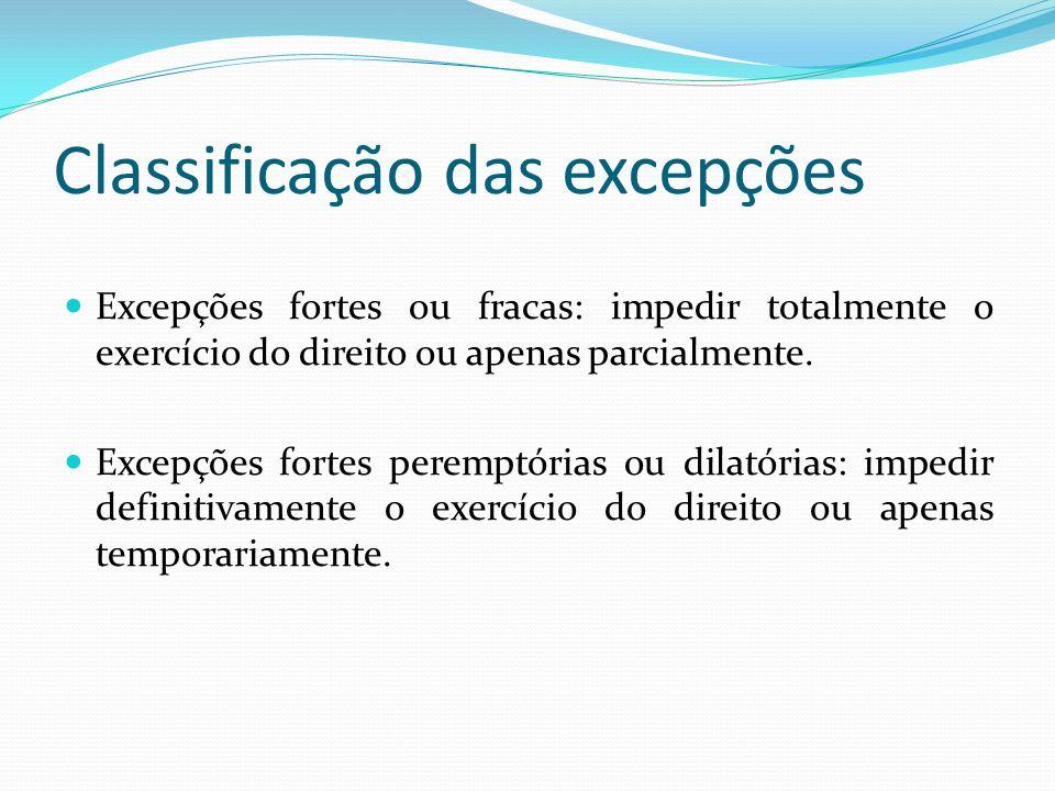 Classificação das excepções Excepções fortes ou fracas: impedir totalmente o exercício do direito ou apenas parcialmente.