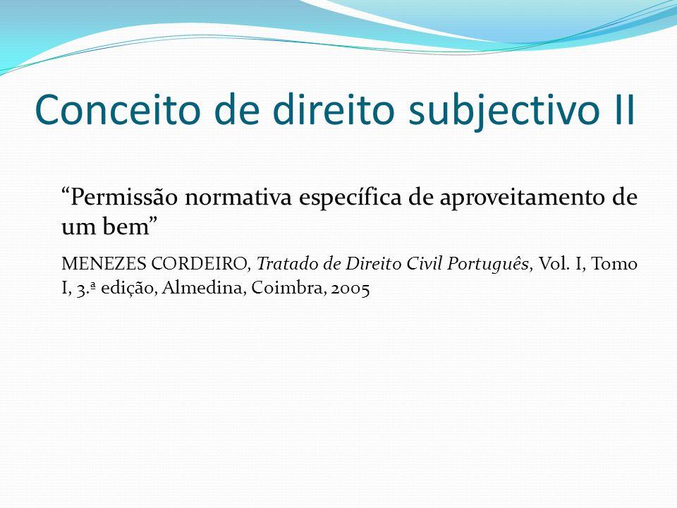 Conceito de direito subjectivo II Permissão normativa específica de aproveitamento de um bem MENEZES CORDEIRO, Tratado de Direito Civil Português, Vol.