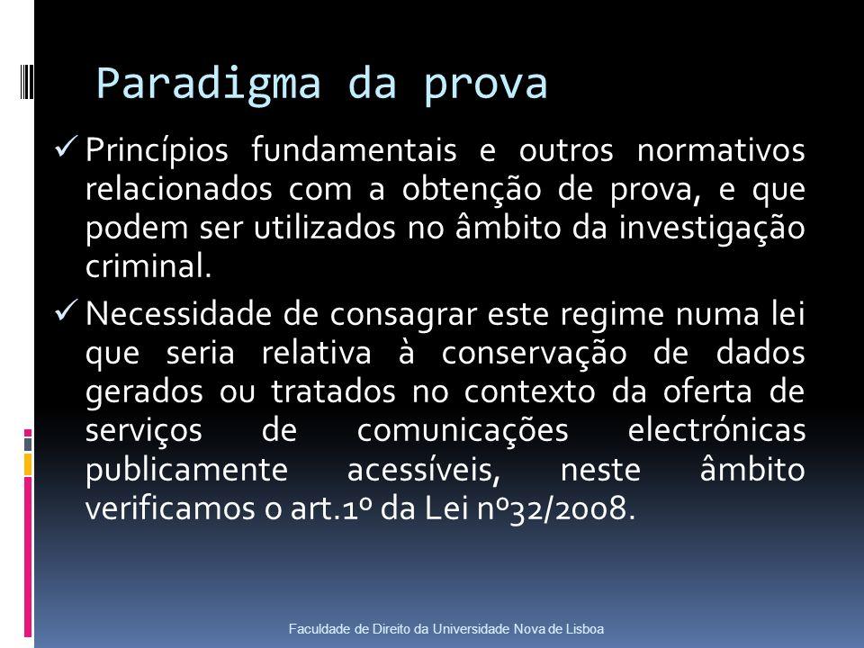 Paradigma da prova Princípios fundamentais e outros normativos relacionados com a obtenção de prova, e que podem ser utilizados no âmbito da investigação criminal.