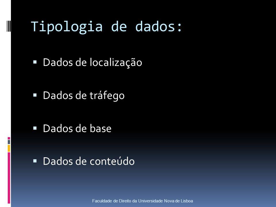 Tipologia de dados: Dados de localização Dados de tráfego Dados de base Dados de conteúdo Faculdade de Direito da Universidade Nova de Lisboa