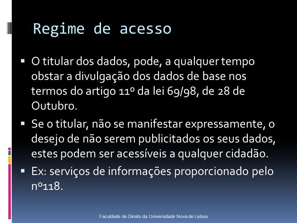 Regime de acesso O titular dos dados, pode, a qualquer tempo obstar a divulgação dos dados de base nos termos do artigo 11º da lei 69/98, de 28 de Outubro.