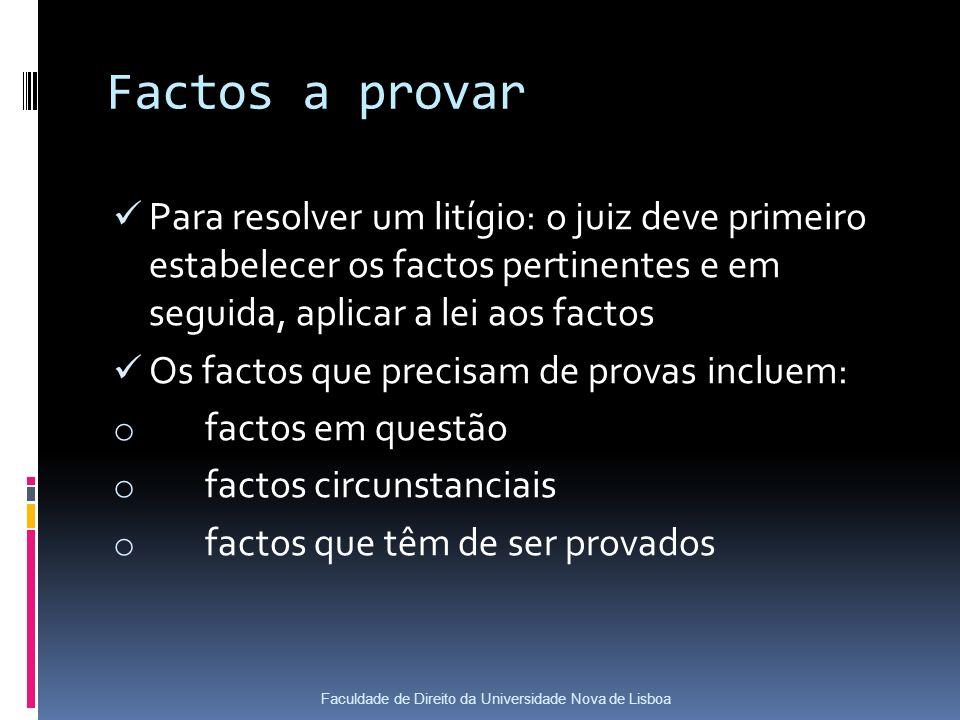 Factos a provar Para resolver um litígio: o juiz deve primeiro estabelecer os factos pertinentes e em seguida, aplicar a lei aos factos Os factos que precisam de provas incluem: o factos em questão o factos circunstanciais o factos que têm de ser provados Faculdade de Direito da Universidade Nova de Lisboa