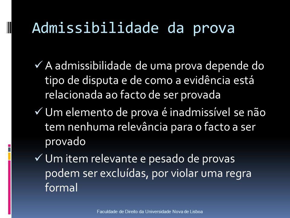 Admissibilidade da prova A admissibilidade de uma prova depende do tipo de disputa e de como a evidência está relacionada ao facto de ser provada Um elemento de prova é inadmissível se não tem nenhuma relevância para o facto a ser provado Um item relevante e pesado de provas podem ser excluídas, por violar uma regra formal Faculdade de Direito da Universidade Nova de Lisboa