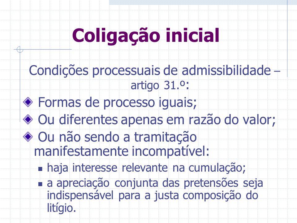 Coligação inicial Condições objetivas de admissibilidade – artigo 30.º : Causa de pedir única; Pedidos principal e prejudicial; Pedidos dependentes; M