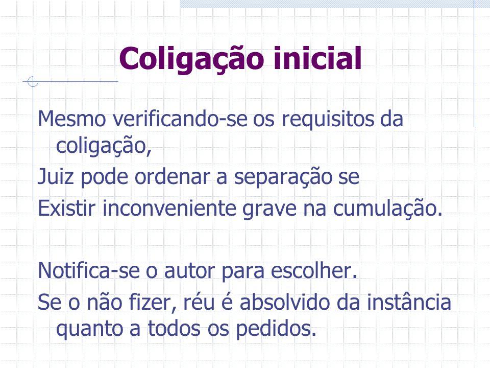 Coligação inicial Condições processuais de admissibilidade – artigo 31.º : Competência internacional Competência em razão da matéria Competência em ra