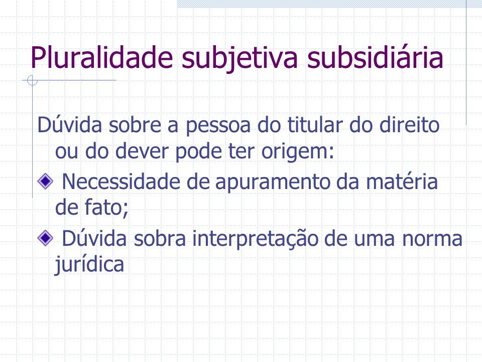 Pluralidade subjetiva subsidiária Litisconsórcio subsidiário – mesmo pedido é deduzido por ou contra uma parte a título principal e por ou contra outr
