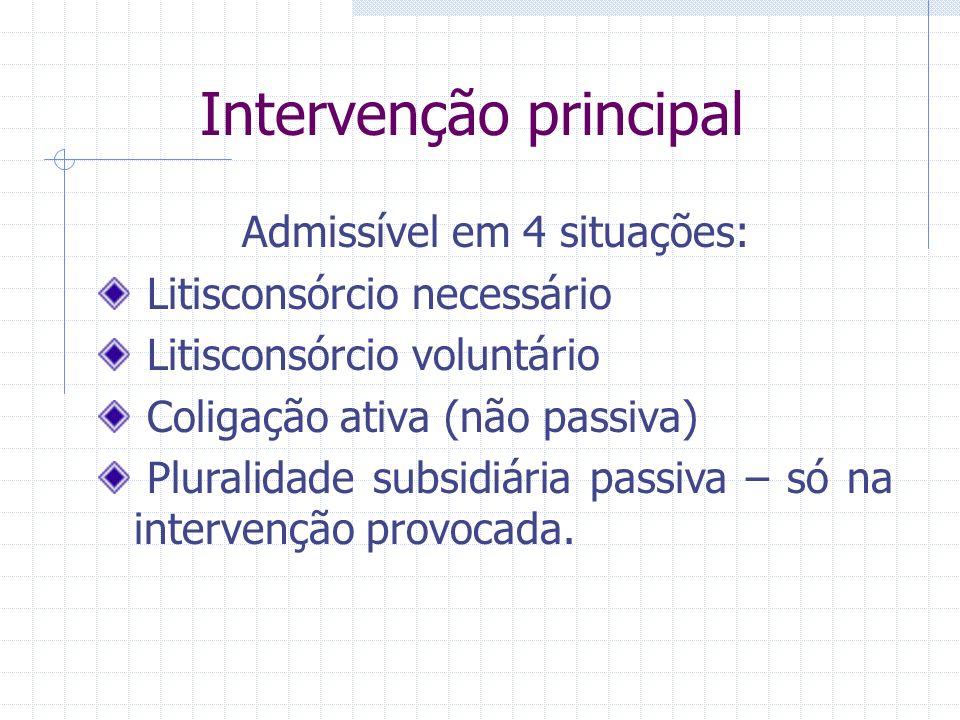 Intervenção principal Terceiro constitui-se como autor ou réu, em litisconsórcio ou coligação. Intervenção principal pode ser: Espontânea – artigo 320