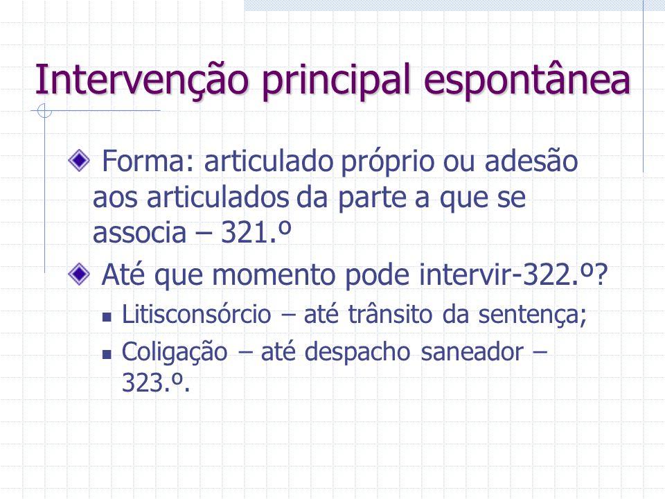 Intervenção principal Admissível em 4 situações: Litisconsórcio necessário Litisconsórcio voluntário Coligação ativa (não passiva) Pluralidade subsidi