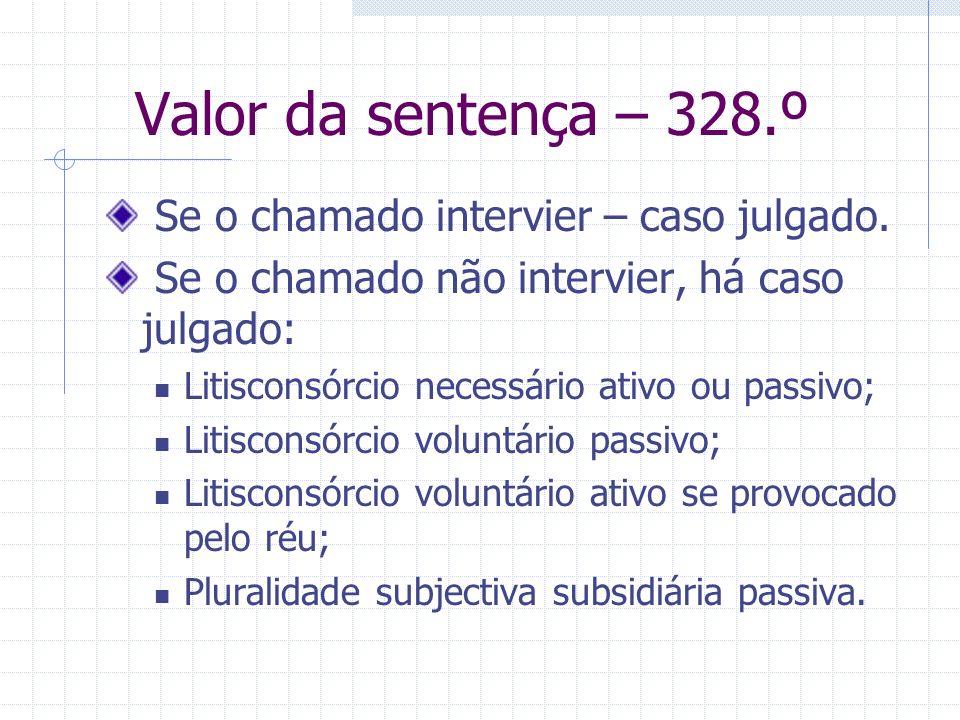 Intervenção principal provocada Só até ao momento do despacho saneador – 326.º+323.º. Exceções: Para mais – 269.º - trânsito da decisão de ilegitimida