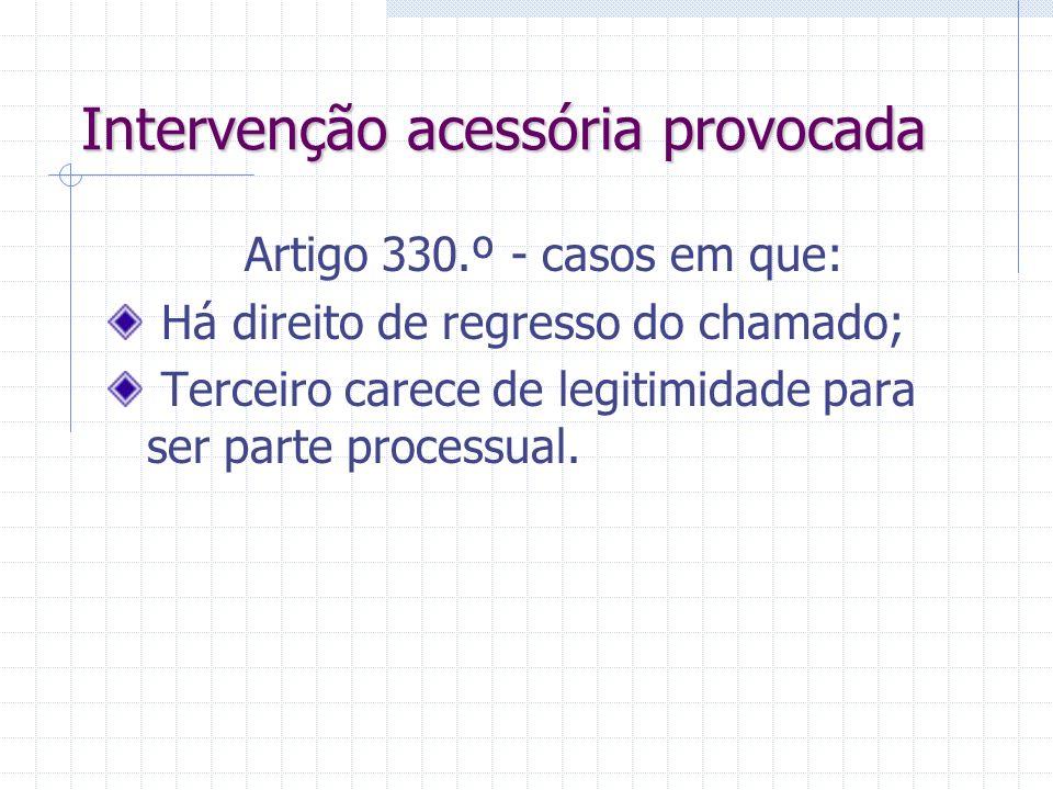 Intervenção acessória Terceiro é parte acessória, coadjuvando uma das partes principais – artigo 337.º. Pode ser provocada ou espontânea. Intervenção