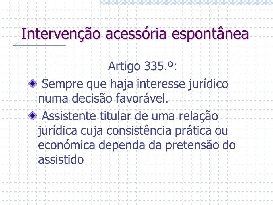 Intervenção acessória provocada Artigo 330.º - casos em que: Há direito de regresso do chamado; Terceiro carece de legitimidade para ser parte process