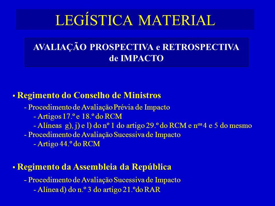 LEGÍSTICA MATERIAL Regimento do Conselho de Ministros - Procedimento de Avaliação Prévia de Impacto - Artigos 17.º e 18.º do RCM - Alíneas g), j) e l)