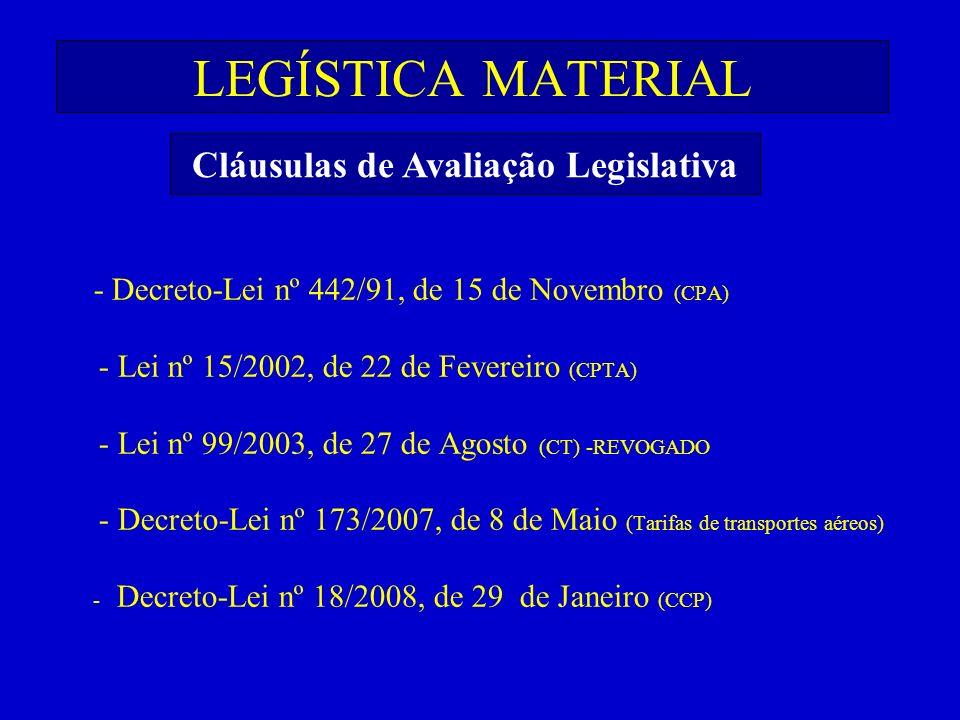 LEGÍSTICA MATERIAL - Decreto-Lei nº 442/91, de 15 de Novembro (CPA) - Lei nº 15/2002, de 22 de Fevereiro (CPTA) - Lei nº 99/2003, de 27 de Agosto (CT)