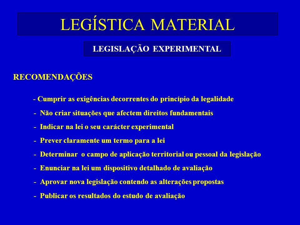 LEGÍSTICA MATERIAL LEGISLAÇÃO EXPERIMENTAL RECOMENDAÇÕES - Cumprir as exigências decorrentes do princípio da legalidade - Não criar situações que afec