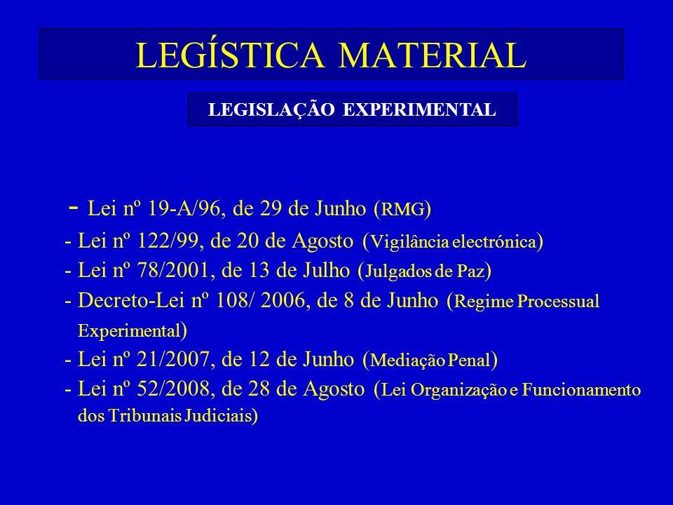 LEGÍSTICA MATERIAL - Lei nº 19-A/96, de 29 de Junho ( RMG ) - Lei nº 122/99, de 20 de Agosto ( Vigilância electrónica ) - Lei nº 78/2001, de 13 de Jul