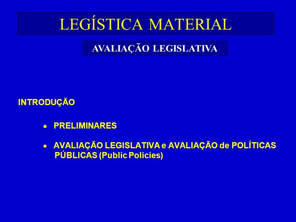 LEGÍSTICA MATERIAL INTRODUÇÃO PRELIMINARES AVALIAÇÃO LEGISLATIVA e AVALIAÇÃO de POLÍTICAS PÚBLICAS (Public Policies) AVALIAÇÃO LEGISLATIVA