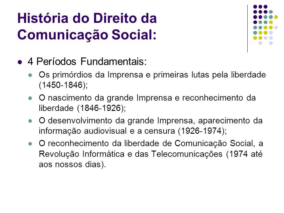 História do Direito da Comunicação Social: Em Portugal: Desde o aparecimento da Comunicação Social, no século XVI, até 1946 viveu em regime de censura com excepção de três curtos períodos de relativa liberdade; Entre 1846 e 1926 passou-se de uma fase de restrições à Imprensa a um longo período de liberdade, entrecortado por curtas fases de censura, coincidentes com os regimes autoritários; Em 1974, depois de um longo período de censura prévia, estabeleceu-se um regime de liberdade expressa.