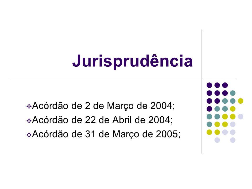 Jurisprudência Acórdão de 2 de Março de 2004; Acórdão de 22 de Abril de 2004; Acórdão de 31 de Março de 2005;