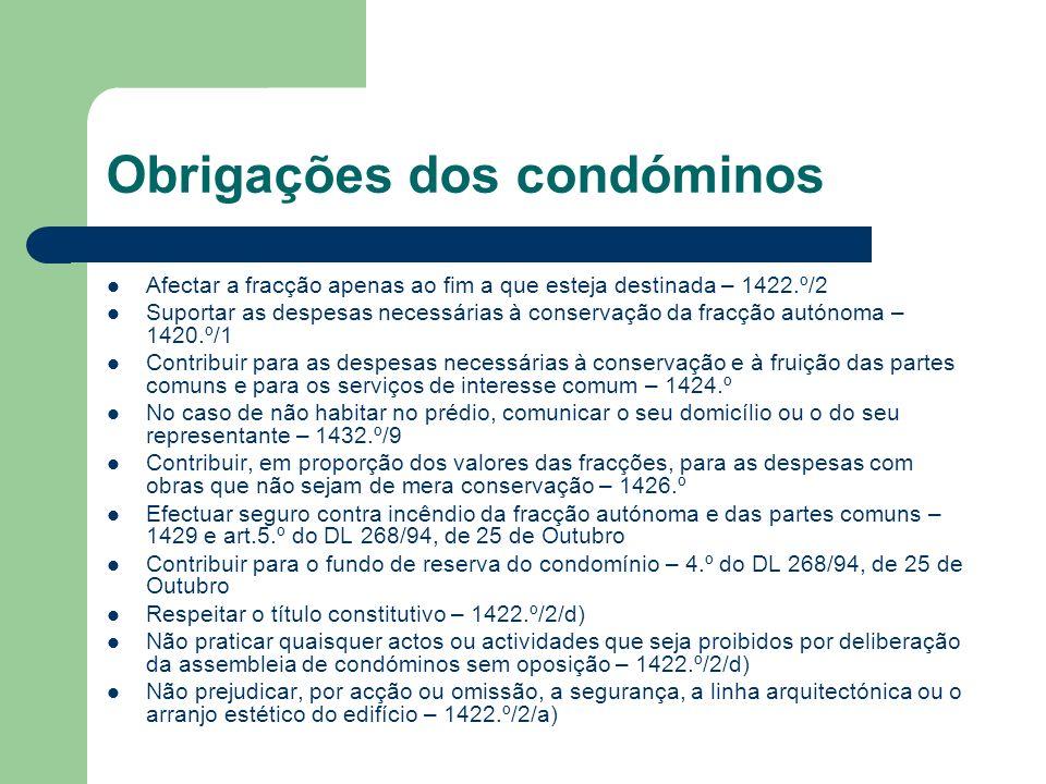 Obrigações dos condóminos Afectar a fracção apenas ao fim a que esteja destinada – 1422.º/2 Suportar as despesas necessárias à conservação da fracção