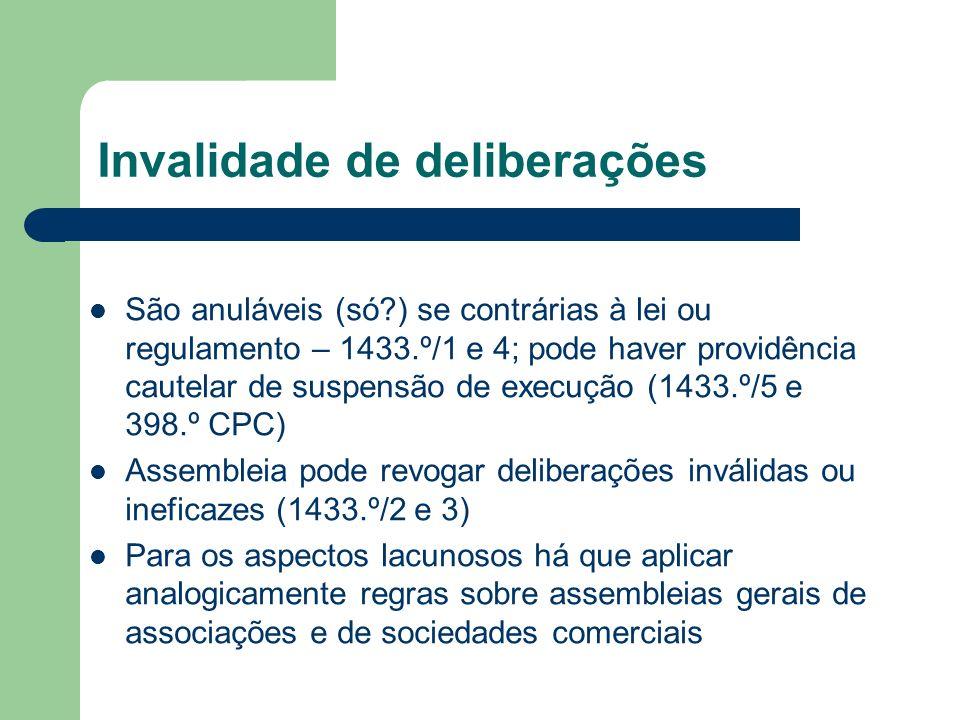Invalidade de deliberações São anuláveis (só?) se contrárias à lei ou regulamento – 1433.º/1 e 4; pode haver providência cautelar de suspensão de exec