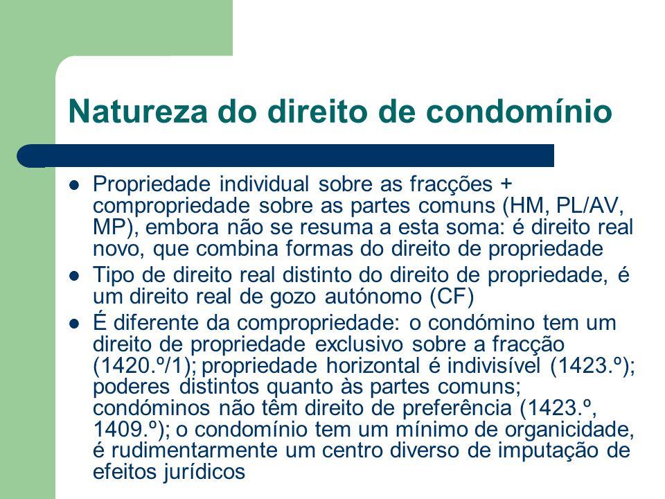 Natureza do direito de condomínio Propriedade individual sobre as fracções + compropriedade sobre as partes comuns (HM, PL/AV, MP), embora não se resu