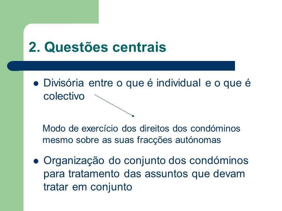 2. Questões centrais Divisória entre o que é individual e o que é colectivo Modo de exercício dos direitos dos condóminos mesmo sobre as suas fracções