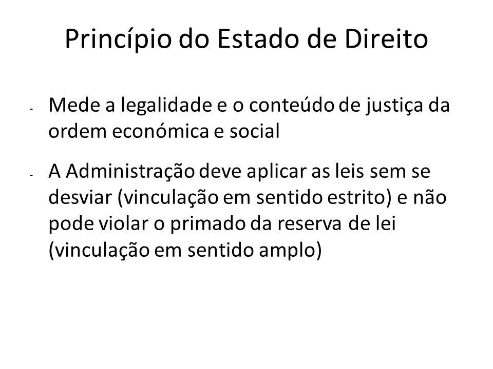 Princípio do Estado de Direito - Mede a legalidade e o conteúdo de justiça da ordem económica e social - A Administração deve aplicar as leis sem se d
