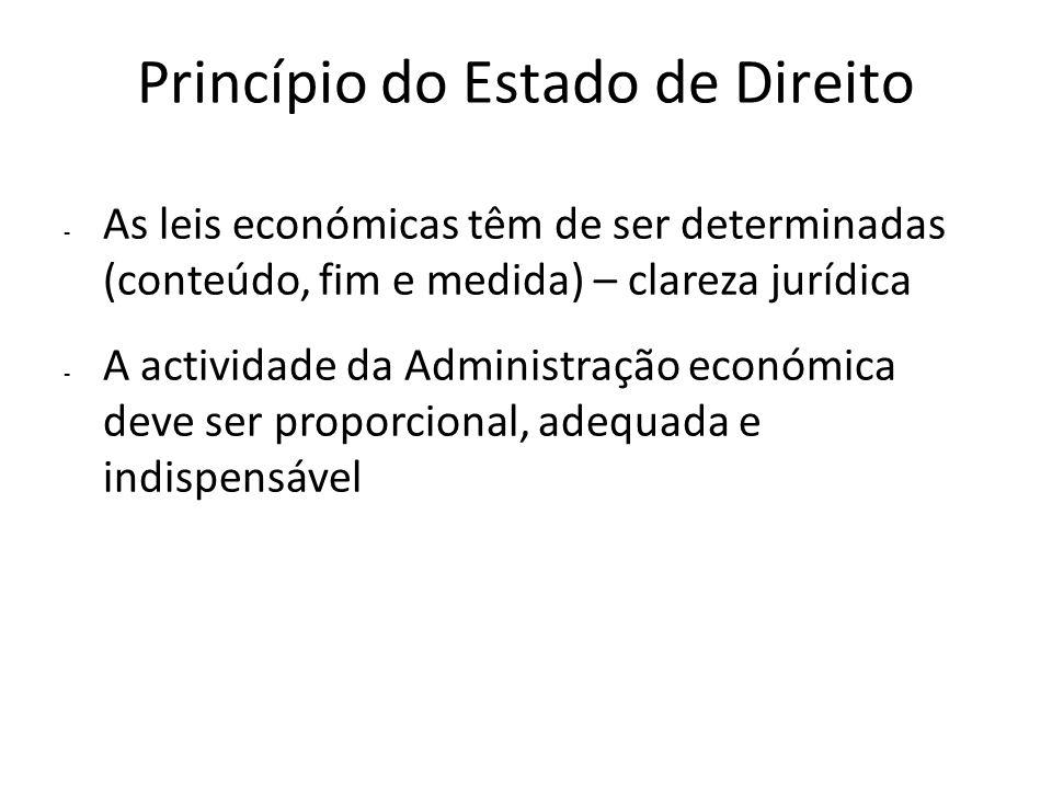 Princípio do Estado de Direito - As leis económicas têm de ser determinadas (conteúdo, fim e medida) – clareza jurídica - A actividade da Administraçã