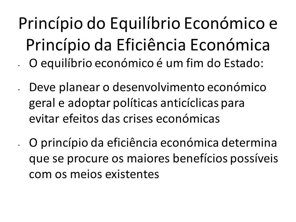 Princípio do Equilíbrio Económico e Princípio da Eficiência Económica - O equilíbrio económico é um fim do Estado: - Deve planear o desenvolvimento ec