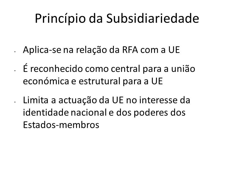 Princípio da Subsidiariedade - Aplica-se na relação da RFA com a UE - É reconhecido como central para a união económica e estrutural para a UE - Limit
