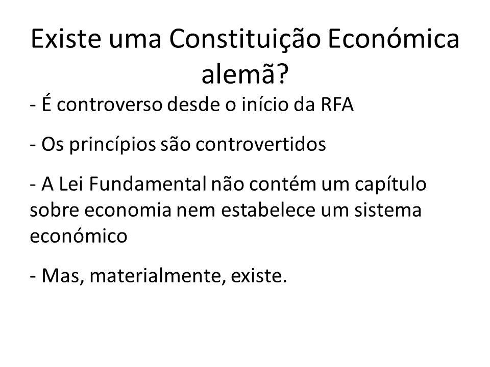 Existe uma Constituição Económica alemã? - É controverso desde o início da RFA - Os princípios são controvertidos - A Lei Fundamental não contém um ca
