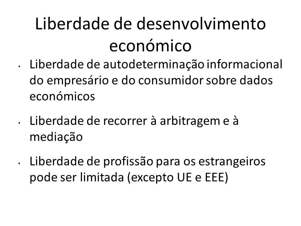 Liberdade de desenvolvimento económico Liberdade de autodeterminação informacional do empresário e do consumidor sobre dados económicos Liberdade de r