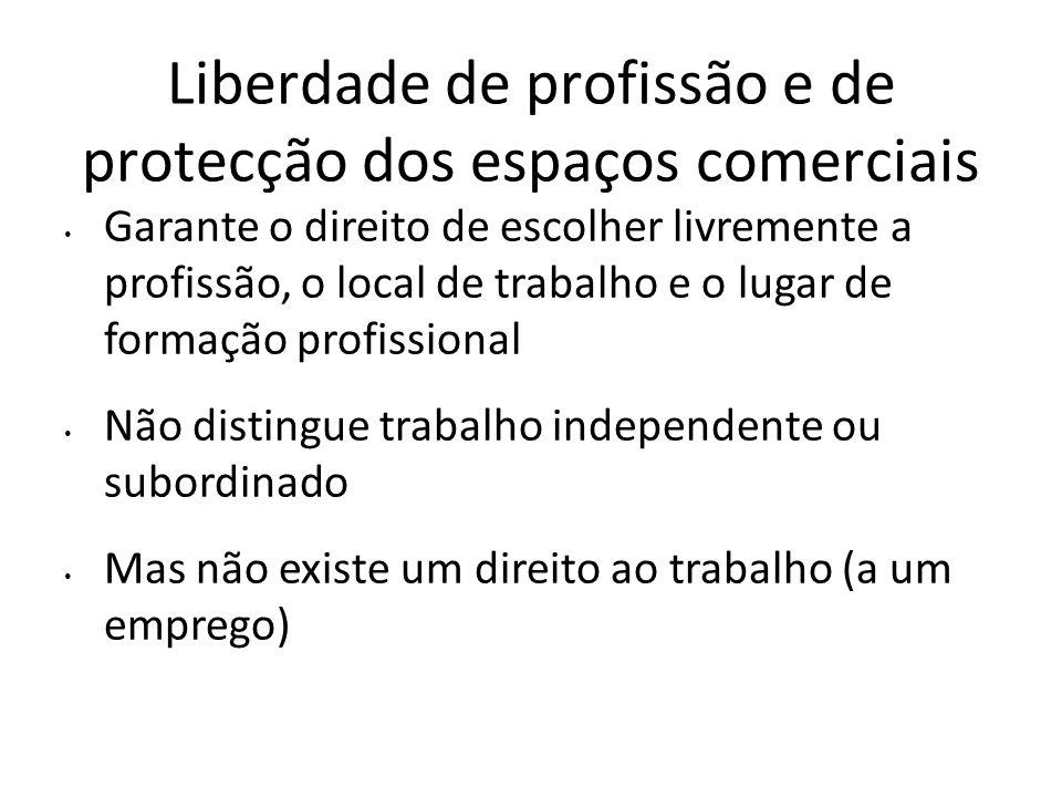 Liberdade de profissão e de protecção dos espaços comerciais Garante o direito de escolher livremente a profissão, o local de trabalho e o lugar de fo