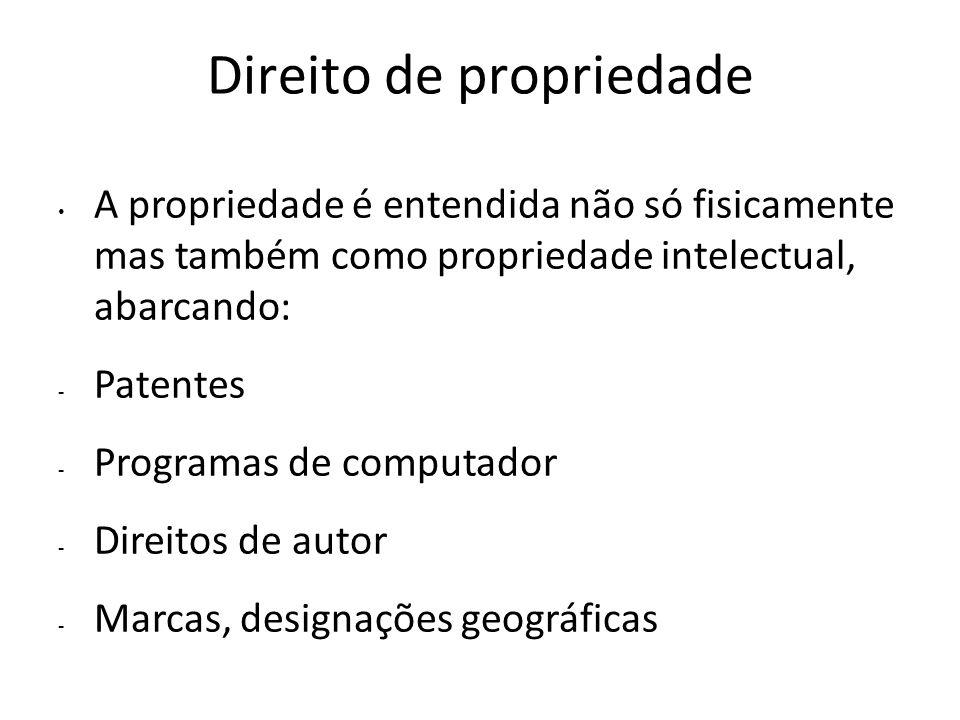 Direito de propriedade A propriedade é entendida não só fisicamente mas também como propriedade intelectual, abarcando: - Patentes - Programas de comp