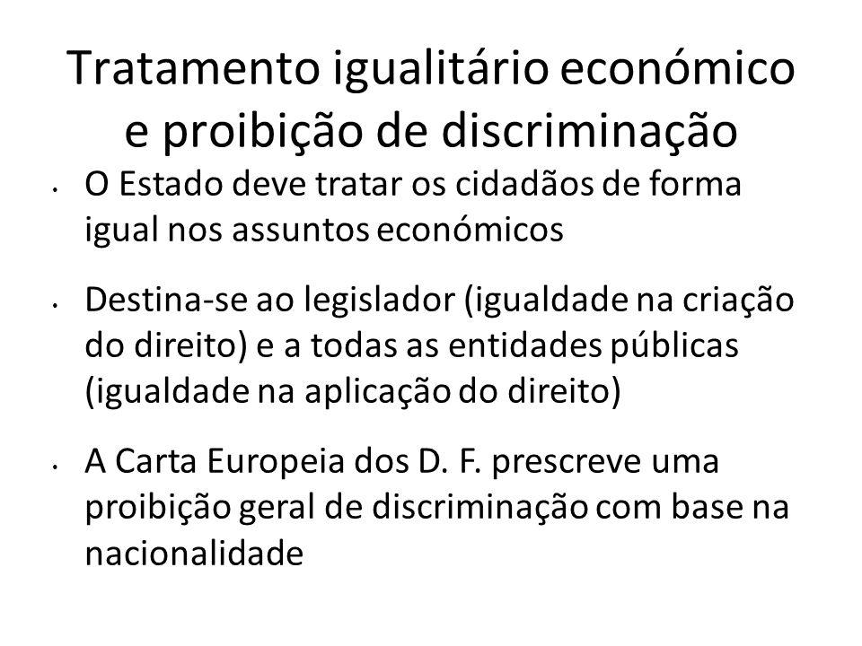 Tratamento igualitário económico e proibição de discriminação O Estado deve tratar os cidadãos de forma igual nos assuntos económicos Destina-se ao le