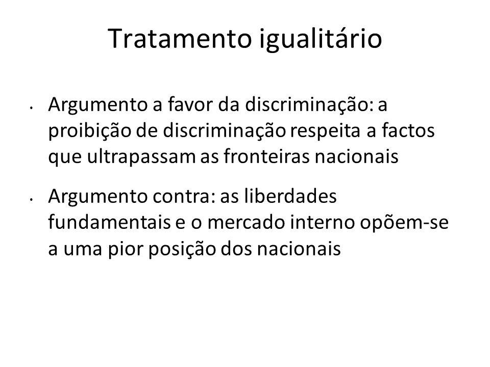 Tratamento igualitário Argumento a favor da discriminação: a proibição de discriminação respeita a factos que ultrapassam as fronteiras nacionais Argu