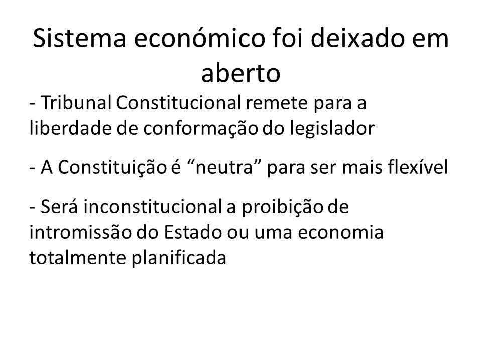 Sistema económico foi deixado em aberto - Tribunal Constitucional remete para a liberdade de conformação do legislador - A Constituição é neutra para