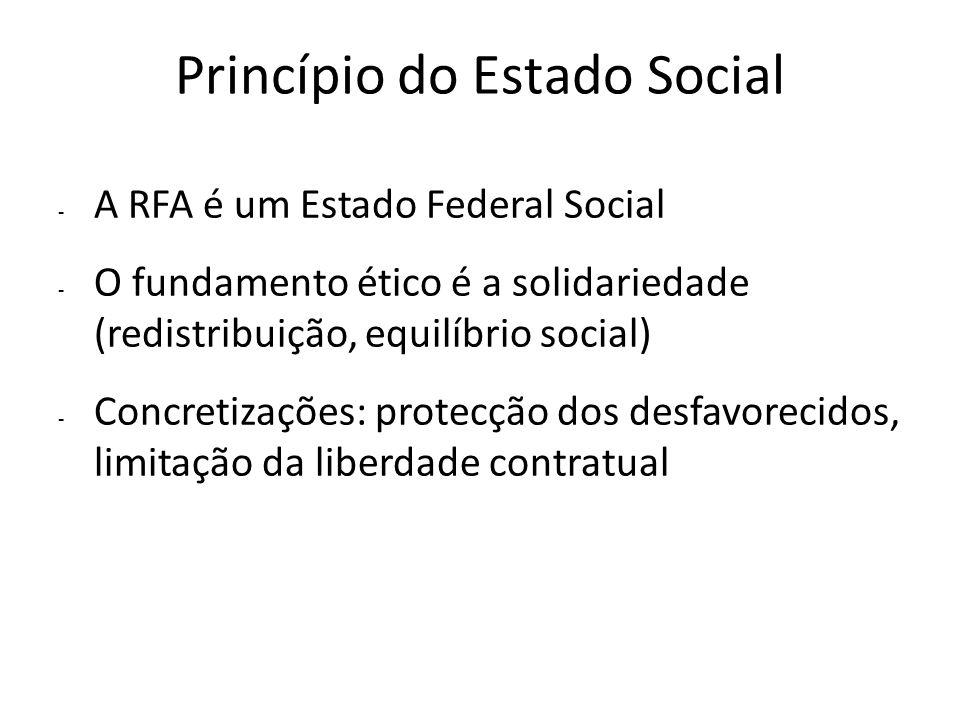 Princípio do Estado Social - A RFA é um Estado Federal Social - O fundamento ético é a solidariedade (redistribuição, equilíbrio social) - Concretizaç