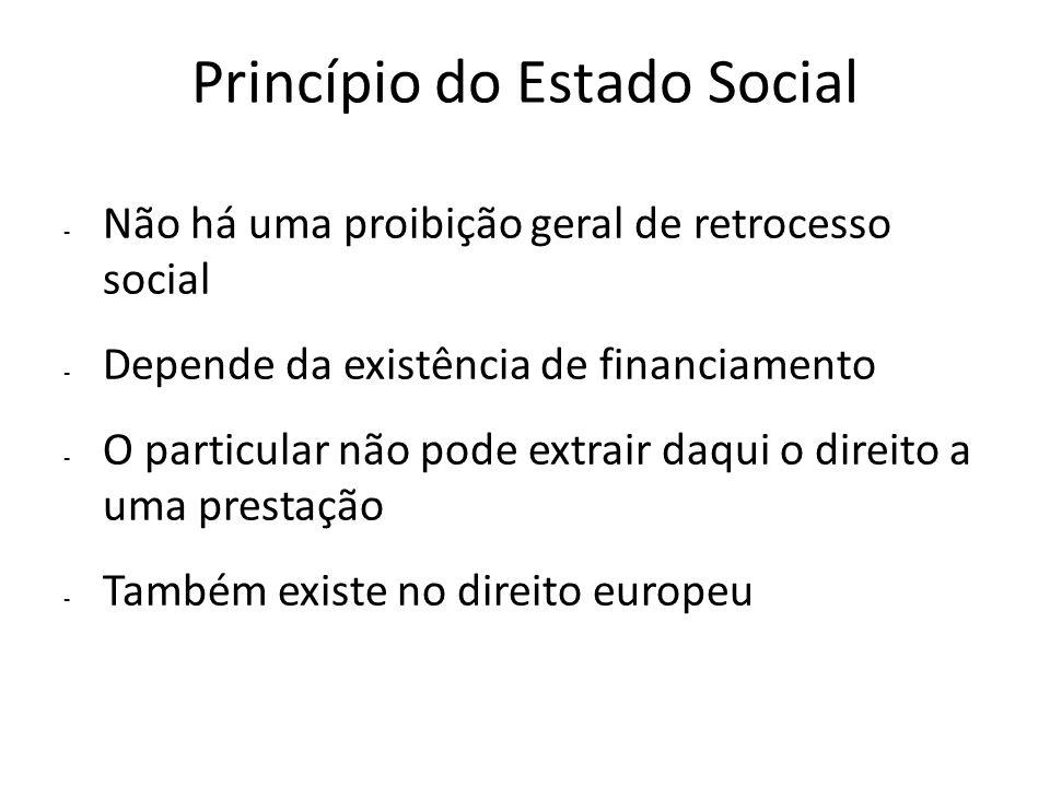 Princípio do Estado Social - Não há uma proibição geral de retrocesso social - Depende da existência de financiamento - O particular não pode extrair