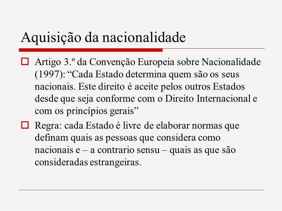 Aquisição da nacionalidade Artigo 3.º da Convenção Europeia sobre Nacionalidade (1997): Cada Estado determina quem são os seus nacionais. Este direito